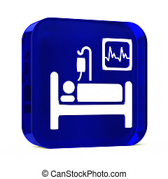 Intensive Care - Glass button icon with white health care...