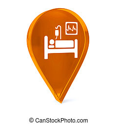 Intensive Care - Glass GPS marker icon with white health...