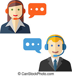 Male and female call center avatars - Male and female call...