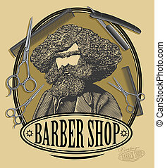 Vintage barber shop logo - Vector illustration of vintage...