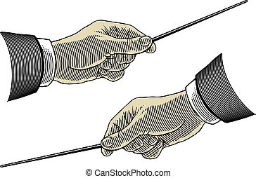 Hand with pointing stick - Vector illustration, isolated,...