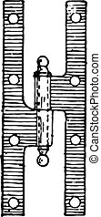 Hinge, vintage engraving. - Hinge, vintage engraved...