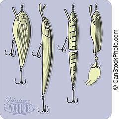 Artificial fishing luresWobblers - Vector illustration,...