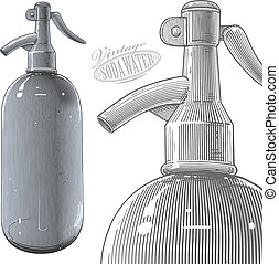 Vintage siphon or soda bottle - Vector illustration,...