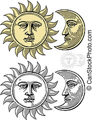 Sun and Moon with faces - Vector illustration, isolated,...