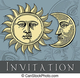 Invitation card with Sun and Moon - Vector illustration,...