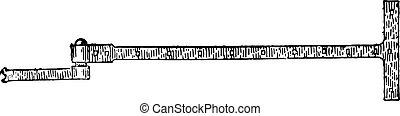 Hinge bracket with hinge t, vintage engraving. - Hinge...