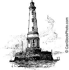 Lighthouse of Cordouan, vintage engraving. - Lighthouse of...