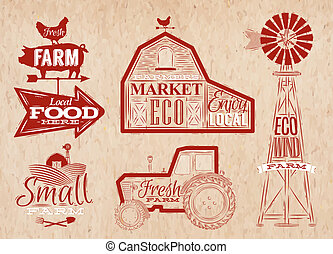 Farm vintage red - Farm characters in vintage style...