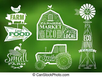 Farm vintage green - Farm characters in vintage style...