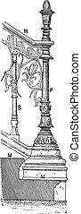 Pilaster, vintage engraving. - Pilaster, vintage engraved...