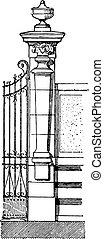 Pilaster, vintage engraving - Pilaster, vintage engraved...