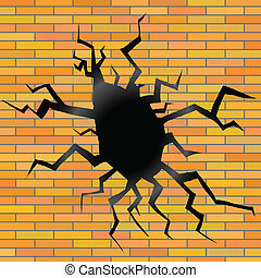 crack on a brick background - colorful illustration with...