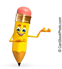 Pencil Character is presenting - Cartoon Character of pencil...