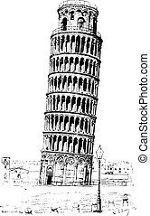 Leaning tower of Pisa or Tower of Pisa, vintage engraving. -...