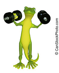 Gecko with a dumbbell