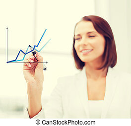 businesswoman drawing graps in the air - office, business,...