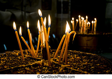 Candles in the Church of the Nativity Bethlehem