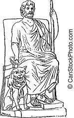 Pluto or Hades, vintage engraving. - Pluto or Hades, vintage...