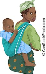 Vector of african woman giving piggyback ride to son -...