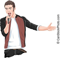 Vector of rockstar singing on mike. - Vector illustration of...