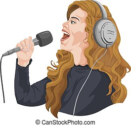 Vector of female singer with headphones.