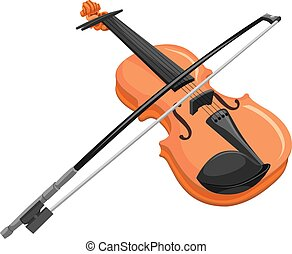 Vector of violin - Vector illustration of violin and bow