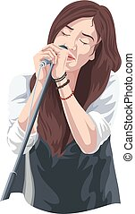 Vector of woman singing.