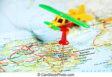 Belfast Ireland ,United Kingdom map airplane and pin -...