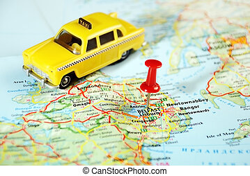 Belfast Ireland ,United Kingdom map taxi and pin - Travel...