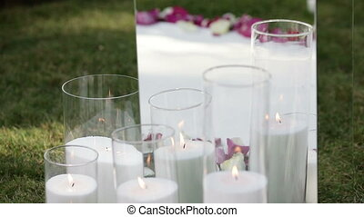 Candles and rose petals with mirror - On carpet candles and...