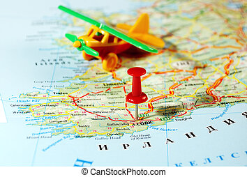 Cork Ireland ,United Kingdom map airplane and pin - Travel...