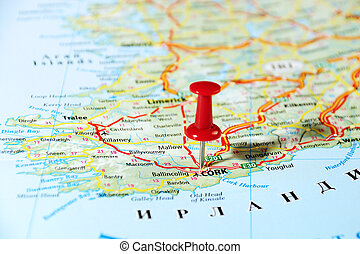 Cork Ireland ,United Kingdom map and pin - Travel concept...