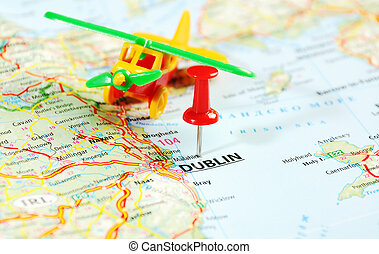 Dublin Ireland ,United Kingdom map airplane and pin - Travel...