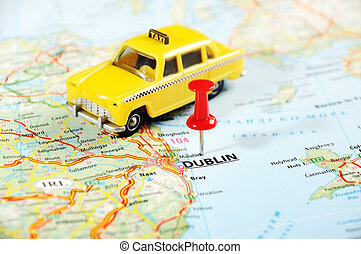 Dublin Ireland ,United Kingdom map taxi car - Dublin Ireland...
