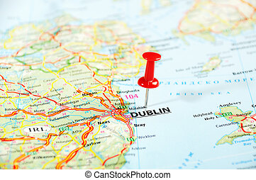Dublin Ireland ,United Kingdom map and pin - Travel concept...