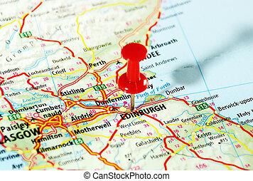edinburgh, skottland, karta
