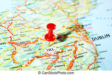 Ireland  ,United Kingdom  map  and  pin - Travel concept