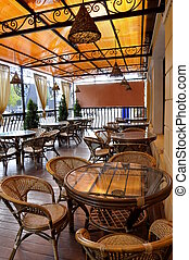 Outdoor cafe - Old fashioned cafe terrace