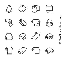 Towels and Napkins Icons - Simple Set of Towels and Napkins...