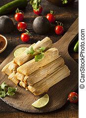 casero, maíz, pollo, Tamales