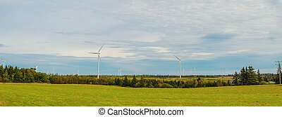 Panoramic view of wind power generators at North Cape -...