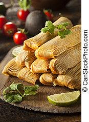 maíz, pollo, casero,  Tamales