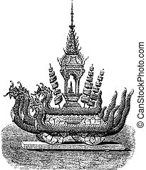 Chariot of Buddha in a cave, vintage engraving.