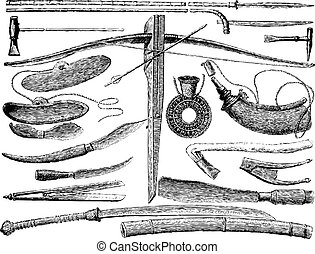 Weapons and Laotian tools, vintage engraving.