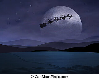 Holy Night - Santa Claus is flying in the dark sky