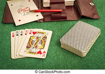Deck Cards on Green
