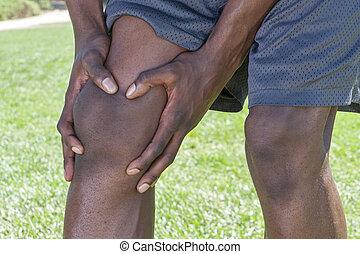 joelho, ferimento, closeup