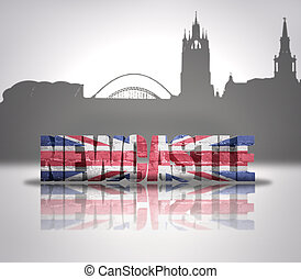 View of Newcastle - Word Newcastle with national flag of...