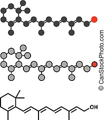 Vitamin A retinol molecule Stylized 2D rendering and...